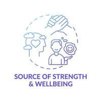 fuente de fuerza y bienestar icono azul degradado concepto vector