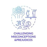 Desafiando conceptos erróneos y prejuicios icono azul degradado concepto vector