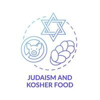 Judaism and kosher food blue gradient concept icon vector