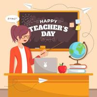día del maestro con el concepto de enseñar a los estudiantes. vector