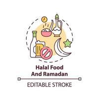 icono de concepto de comida halal y ramadán vector