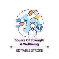 icono de concepto de fuente de fuerza y bienestar vector