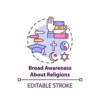 Amplia conciencia sobre el icono del concepto de religión vector