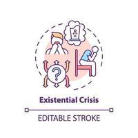 icono del concepto de crisis existencial vector