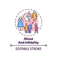 icono de concepto de abuso e infidelidad vector