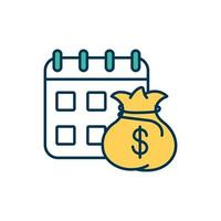 Monthly financial report RGB color icon vector