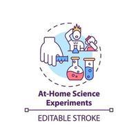 en el hogar, experimentos científicos, concepto, icono vector