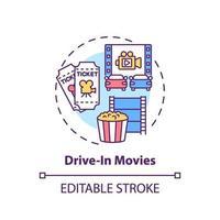 Conducir en el icono de concepto de películas vector