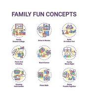 Conjunto de iconos de concepto de diversión familiar vector