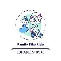 icono de concepto de paseo en bicicleta familiar vector