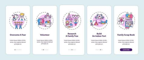 Family bonding tips onboarding mobile app page screen with concepts vector
