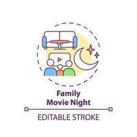 icono de concepto de noche de película familiar vector