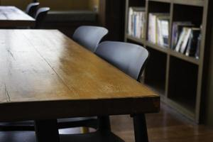 Interior working space wooden table photo
