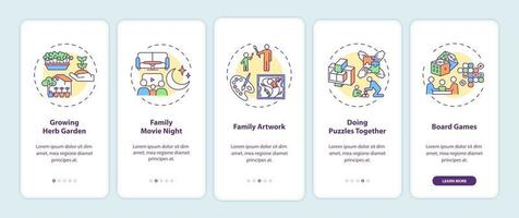 Indoor family activities onboarding mobile app page screen with concepts vector