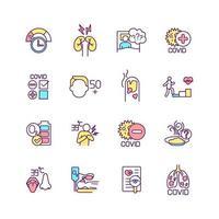 Conjunto de iconos de colores rgb de síndrome post-covid vector