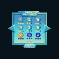Level selection game ui pop up for 2d games vector Illustration