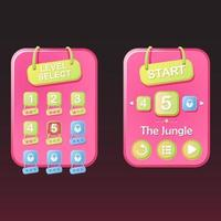 Basic RGBset of Level selection game ui pop up and star with ribbon for 2d gui vector Illustration