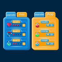 Set of modern game ui kit. Upgrade and shop pop up for 2d gui games vector Illustration