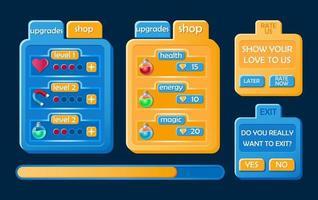 Set of modern casual game ui kit. Board pop up, button, progress bar for 2d gui games vector Illustration