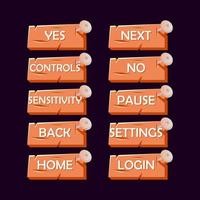 Kit de interfaz de usuario de juego de uñas de madera vieja. botón para juegos 2d ilustración vectorial vector