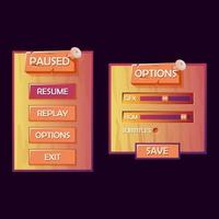 Wooden game ui kit pop up. paused and options menu for 2d gui games vector Illustration