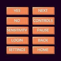kit de interfaz de usuario de juego de madera antiguo. botón para juegos 2d ilustración vectorial vector