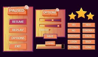 Wooden game ui kit pop up, button, progress bar menu for 2d gui games vector Illustration