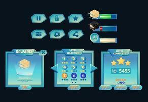 set of fantasy game ui level complete, level selection, progress bar and asset icon for gui asset elements vector illustration