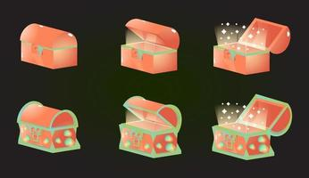 Treasure skull space box chest opened and closed gui game elements fo 2d game ui. Vector illustration