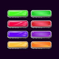 Set of game ui stone diamond and jelly colorful button for gui asset elements vector illustration