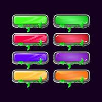 Set of game ui stone leaves diamond and jelly colorful button for gui asset elements vector illustration
