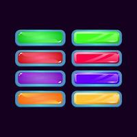Set of game ui fantasy diamond and jelly colorful button for gui asset elements vector illustration
