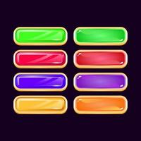 Set of game ui golden diamond and jelly colorful button for gui asset elements vector illustration