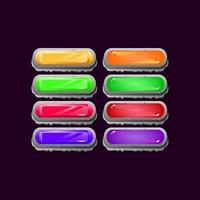 Set of game ui rounded stone rock diamond and jelly colorful button for gui asset elements vector illustration