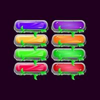 Set of game ui rounded stone leaves diamond and jelly colorful button for gui asset elements vector illustration
