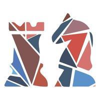 icono de mosaico de deporte plano - ajedrez. moderno vector