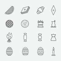 Set of Novruz - Azerbaijan traditional holiday symbols line icons vector
