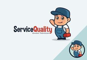 Cute Repairman Mascot vector