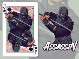 Ilustración ninja para diseño de naipes de jota de espadas vector