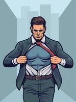 Superhero changing suit vector