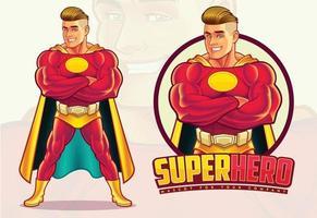mascota de superhéroe guapo vector