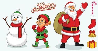 Santa mascot design elements vector