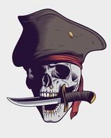 calavera pirata con cuchillo ilustración vector