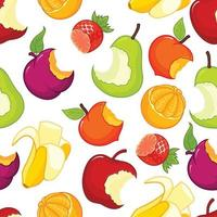 Half eaten fruits seamless pattern vector