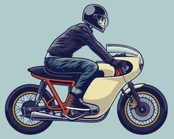 Bicicleta de corredor de café con ilustración de motociclista para elementos de diseño o logotipo. casco en capa separada. vector