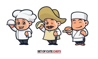 lindo conjunto de mascota de chef vector