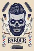 Hipster Skull with Barber Equipment vector