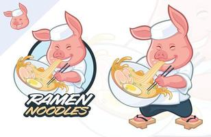 Fat Pig Ramen Mascot design vector