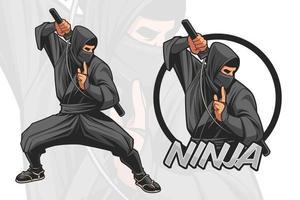 diseño de personajes ninja para logotipo e ilustración vector