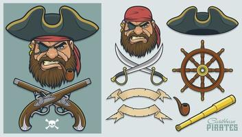 Pirate Elements for creating mascot and logo vector